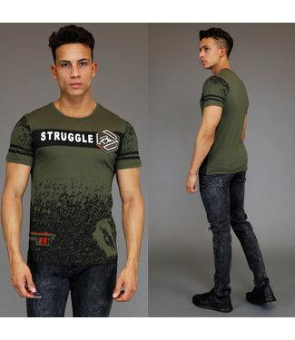 !OP=OP Legergroen Heren Shirt met Opdruk ''Struggle''
