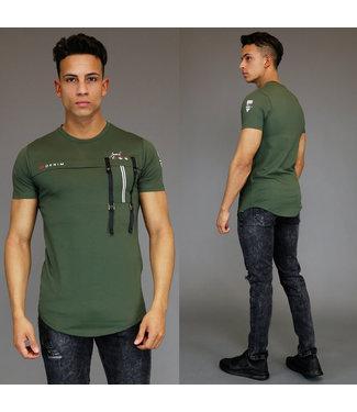 !OP=OP Casual Legergroen Heren Shirt met Details