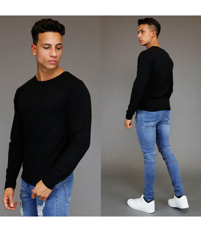 !OP=OP Basic Zwart Longsleeve Heren T-Shirt