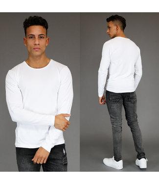 !SALE40 Basic Wit Longsleeve Heren T-Shirt