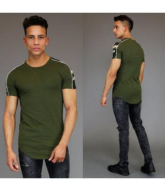 Legergroen Shirt met Camouflage Details