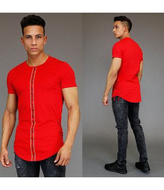 Rood Heren Shirt met Veterdetails en Ribbelpatroon