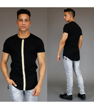 Zwart Heren Shirt met Veterdetails en Ribbelpatroon