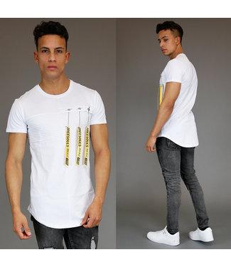 !SALE70 Wit Heren Shirt met Gele Fashion Details