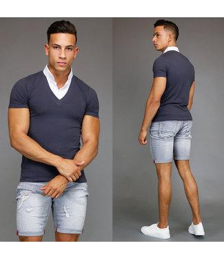 Trendy Grijs T-Shirt met Witte Kraag