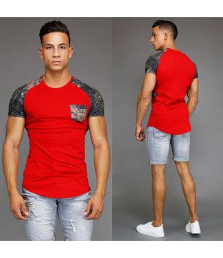 !OP=OP Rood Heren Shirt met Leaf Print