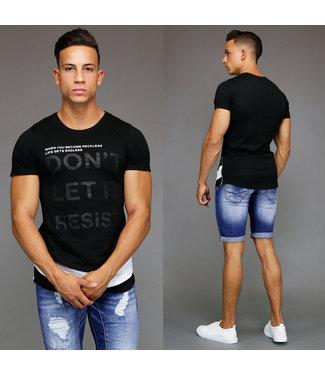 !OP=OP Zwart Double Heren Shirt met Opdruk en Ritsen