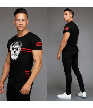 !OP=OP Zwart Skull Heren Shirt met Rood Streeppatroon