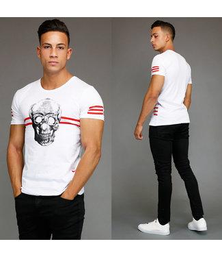 !OP=OP Wit Skull Heren Shirt met Rood Streeppatroon