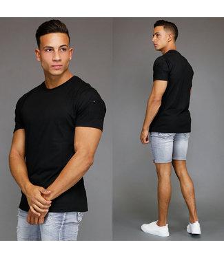 !SALE Basic Zwart Heren T-Shirt met Zakje