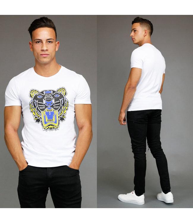 !OP=OP Wit Designer Inspired Tiger Heren Shirt