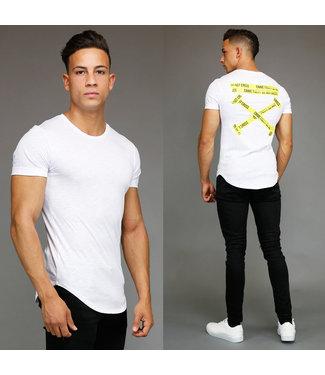 !OP=OP Wit Crime Party Heren Shirt met Korte Mouwen