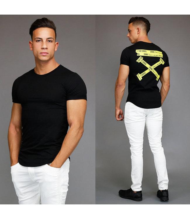 Zwart Crime Party Heren Shirt met Korte Mouwen