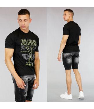 !OP=OP Zwart Heren T-Shirt met Neon Print