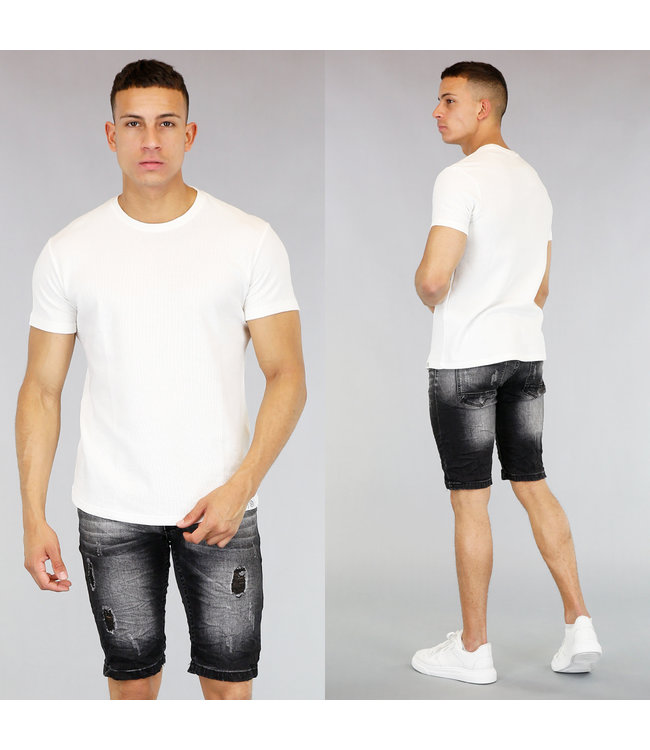 Basic Wit Heren T-Shirt met Reliëf