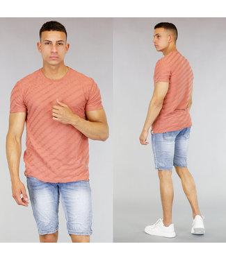 !SALE40 Peach Heren T-Shirt met Ribbel Patroon