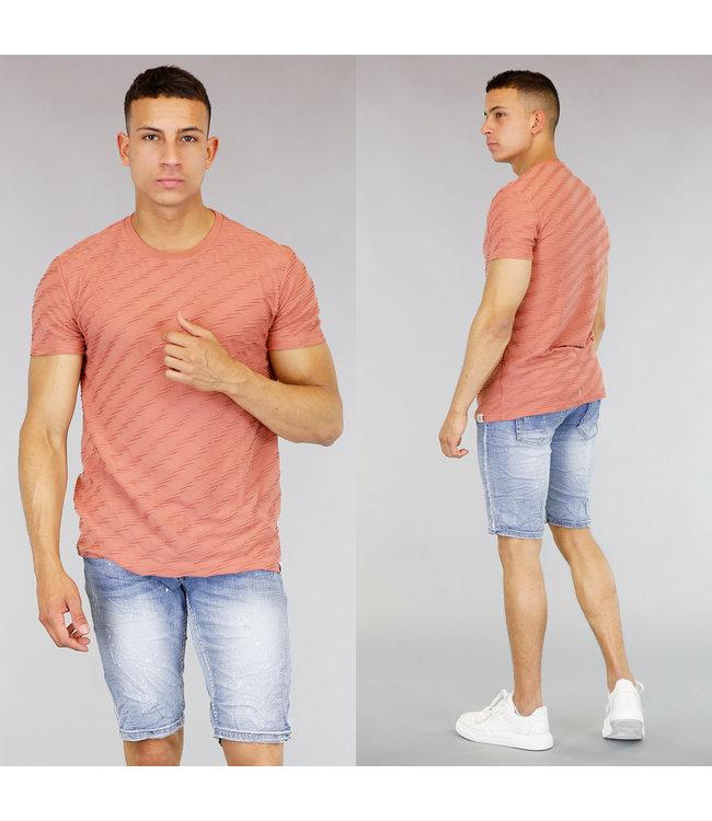 !OP=OP Peach Heren T-Shirt met Ribbel Patroon