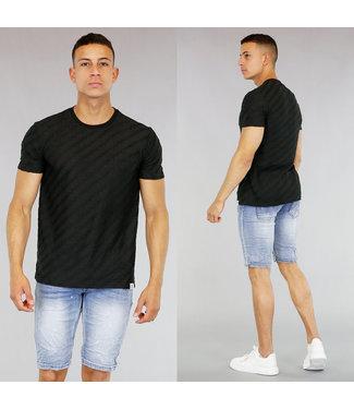 !SALE40 Zwart Heren T-Shirt met Ribbel Patroon