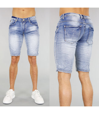 !OP=OP Light Washed Heren Short met Verfspatten