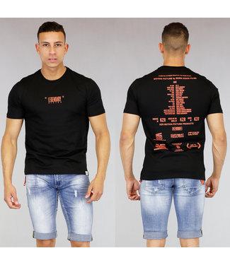 !OP=OP Zwart Heren T-Shirt met Oranje Tekst