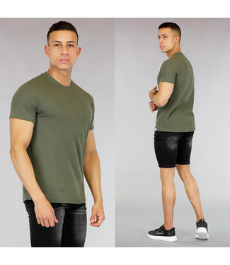 !OP=OP Basic Groen Heren T-Shirt met Reliëf