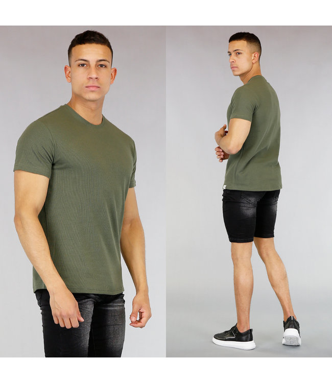 Basic Groen Heren T-Shirt met Reliëf
