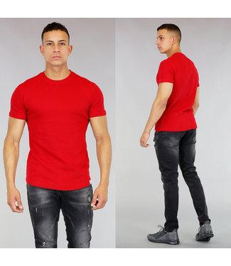 Basic Rood Heren T-Shirt met Reliëf