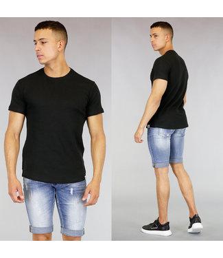 !SALE40 Basic Zwart Heren T-Shirt met Reliëf