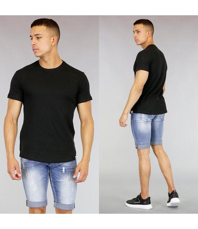 Basic Zwart Heren T-Shirt met Reliëf