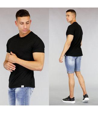 Zwart Katoenen Heren T-Shirt