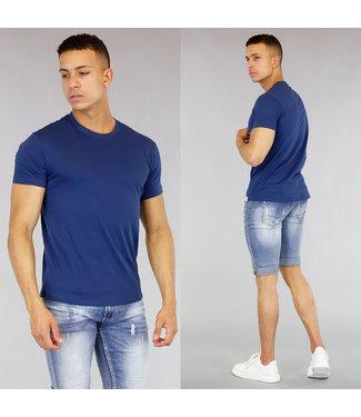 Blauw Katoenen Heren T-Shirt