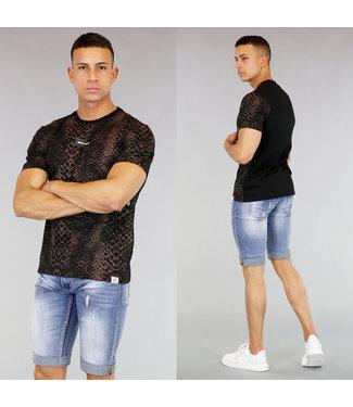 Zwart Heren T-Shirt met Slangenprint