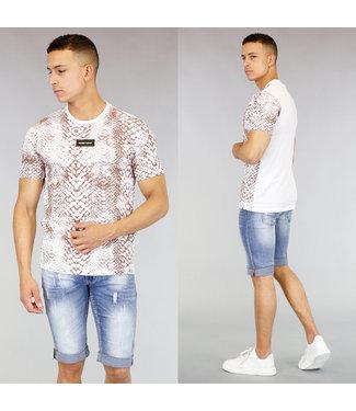 Wit Heren T-Shirt met Slangenprint