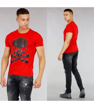 Rood Heren Shirt met Skull
