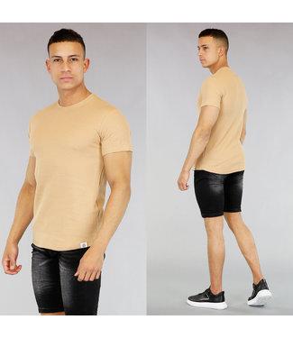 Basic Beige Heren T-Shirt met Reliëf