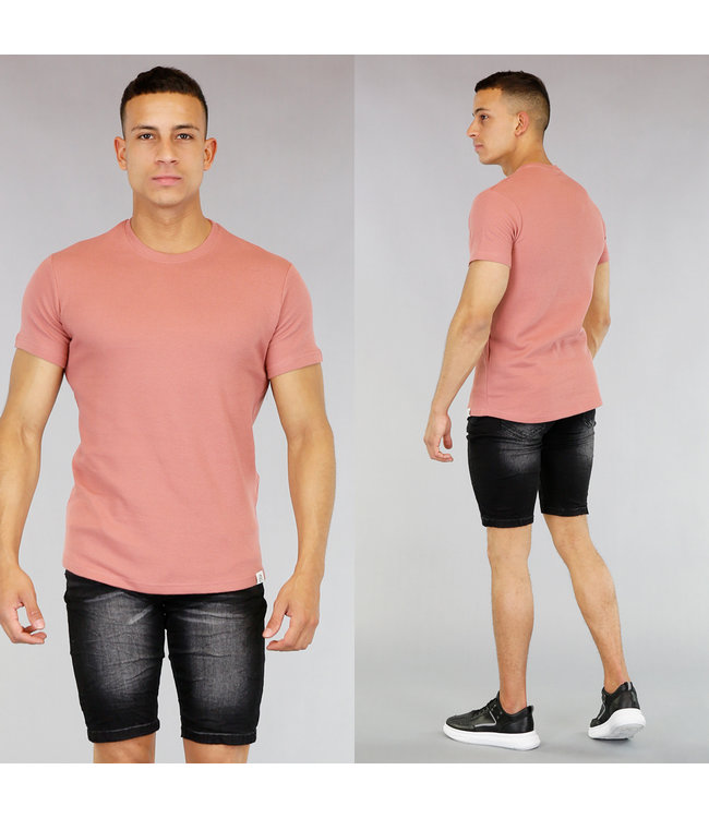 Basic Peach Heren T-Shirt met Reliëf