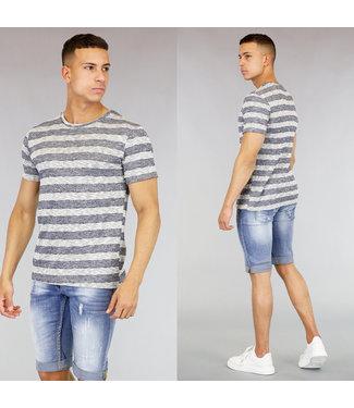 !SALE40 Blauw/Grijs Gestreept Heren Shirt