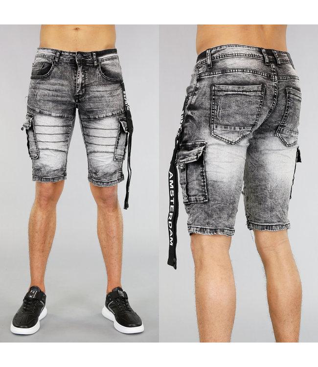 opop jeans heren short met wassing en zakken - Korte Broek Met Rits Heren