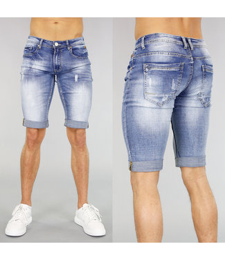 !SALE40 Light Washed Ripped Heren Short