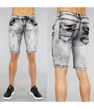 !OP=OP Grijze Acid Washed Heren Short met Krassen