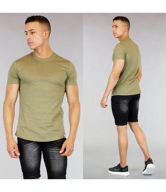 Khaki Katoenen Heren T-Shirt