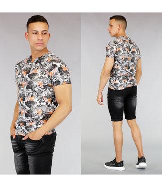 !OP=OP Grijs Heren Shirt met Bladeren Print