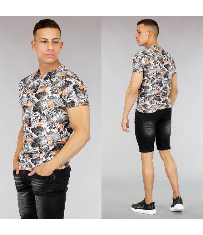 Grijs Heren Shirt met Bladeren Print
