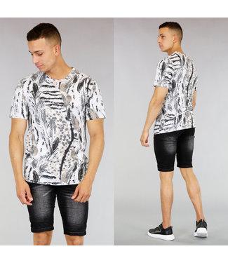 Grijs Heren Shirt met Animal Print