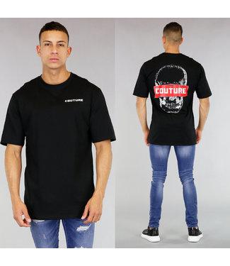 Zwart Oversized Heren Shirt met Skull
