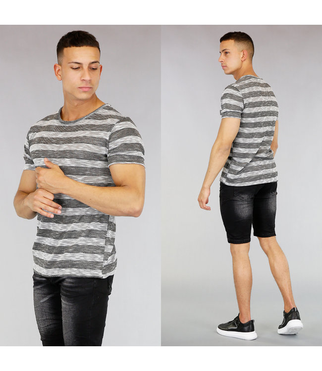 Zwart/Grijs Gestreept Heren Shirt