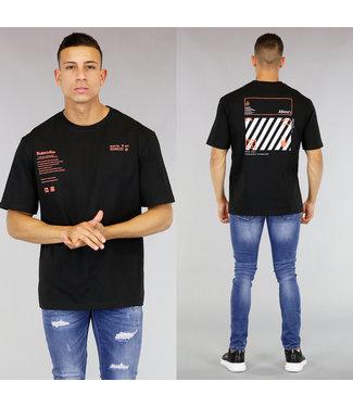 Zwart Oversized Heren T-Shirt met Oranje Tekst