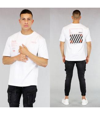 Wit Oversized Heren T-Shirt met Oranje Tekst