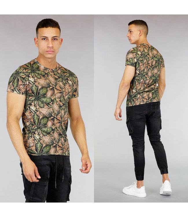 Bruin/Groen Heren Shirt met Print