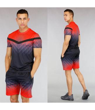 !OP=OP Rood Heren Trainingstenue met Zwart Patroon